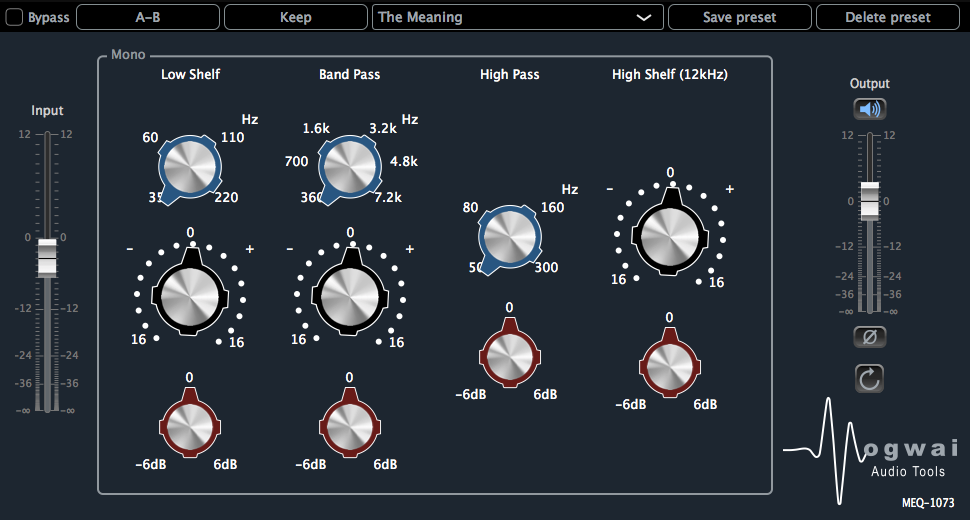 Mono Channel View of the MEQ-1073 Plugin