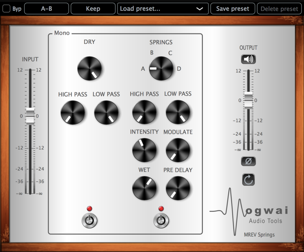 Mono Channel View of the MREV-SPRINGS Plugin
